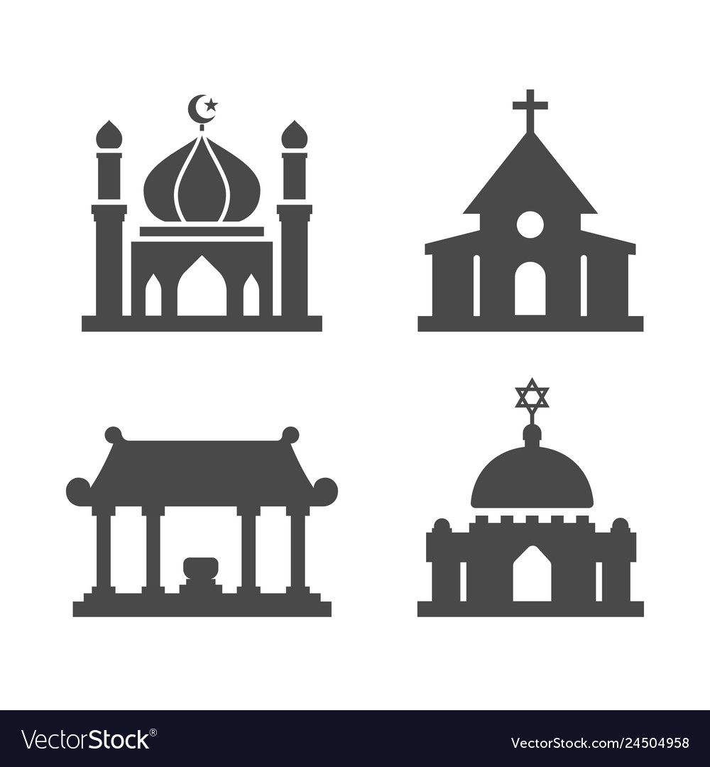House of worship icons set