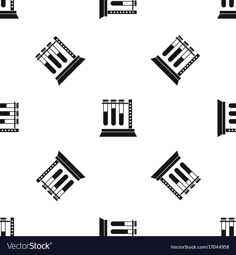 Medical test tubes in holder pattern seamless vector image