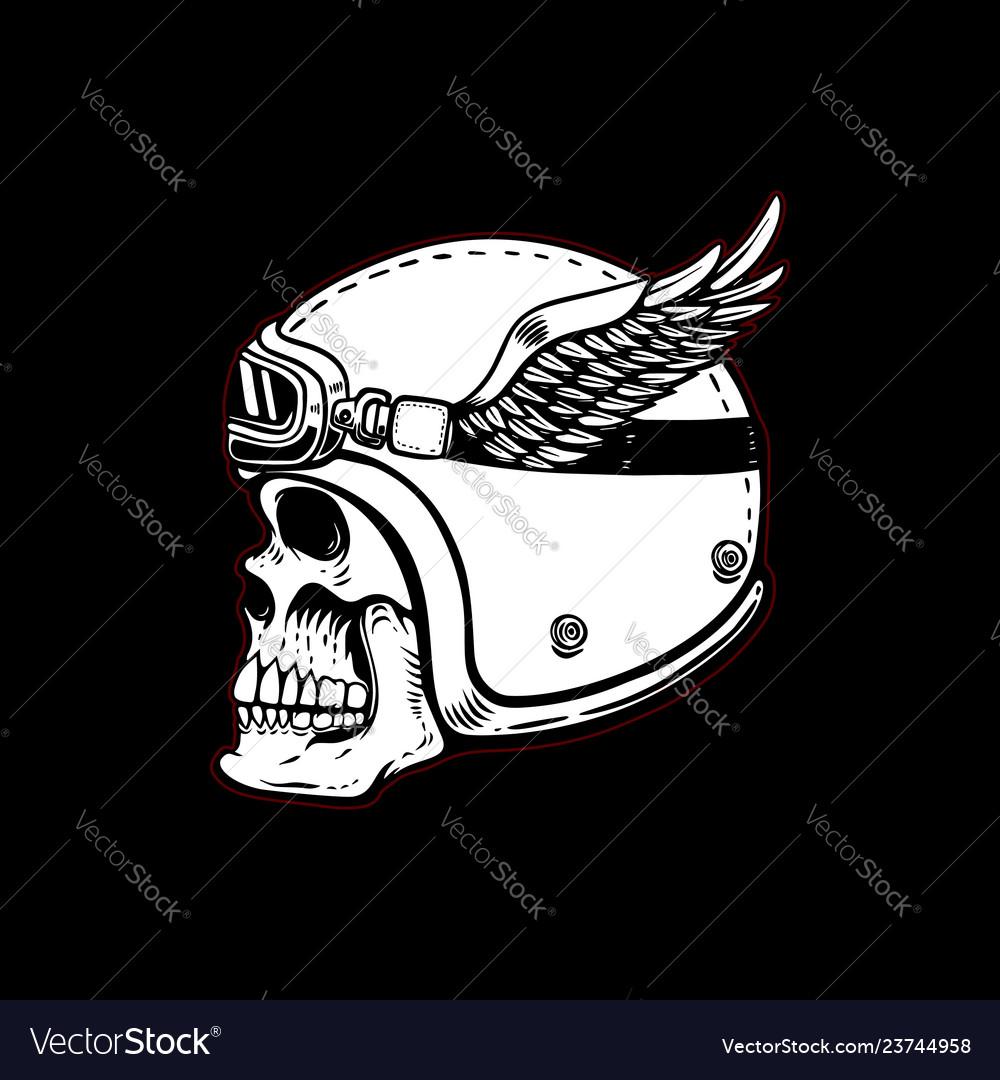 Racer skull in winged helmet on black background