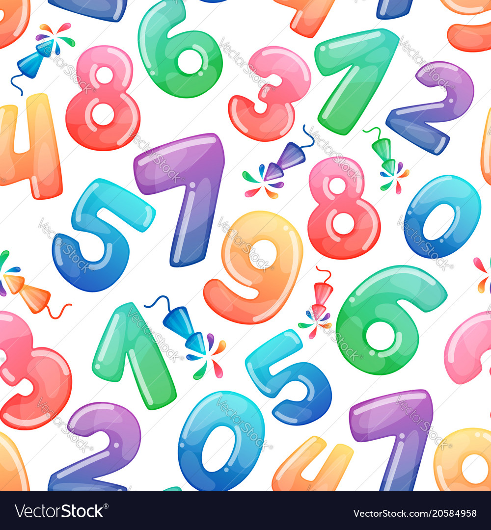 Seamless pattern with cartoon numbers and