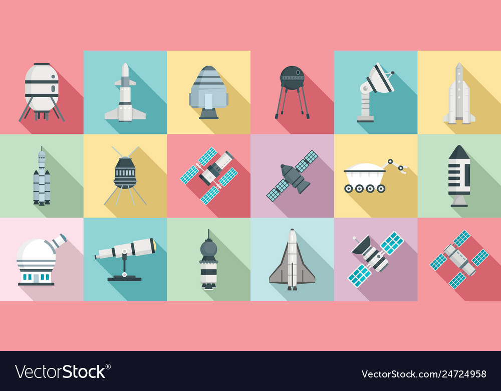 Space research technology icons set flat style