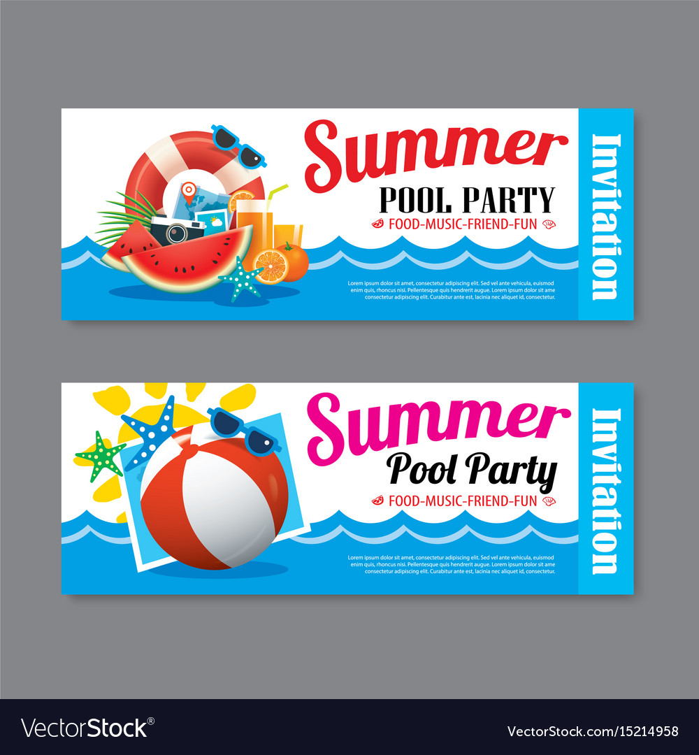 Summer pool party invitation ticket template