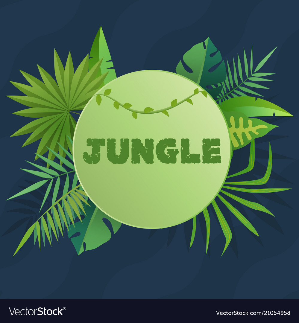 Tropical banner with green palm leaves green
