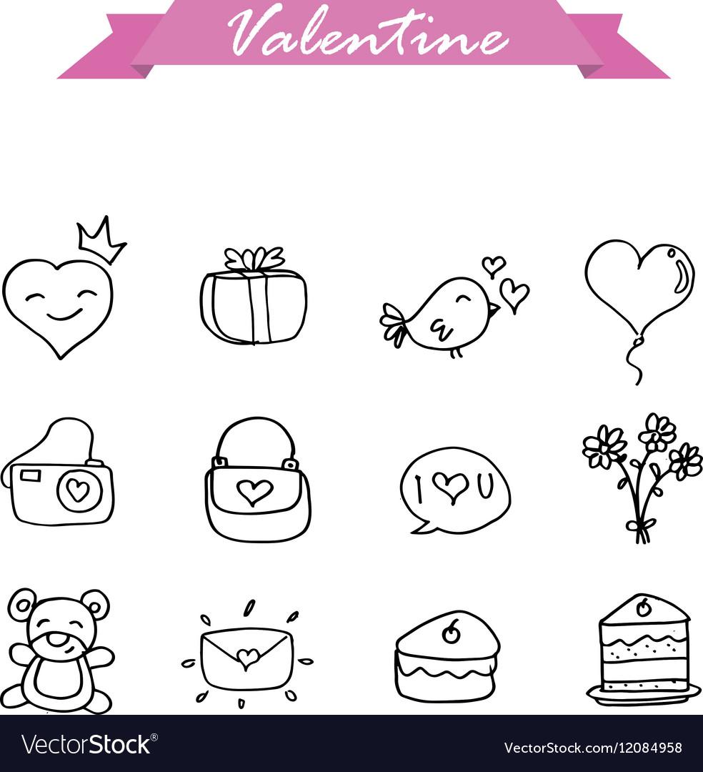 Valentine hand draw vector image