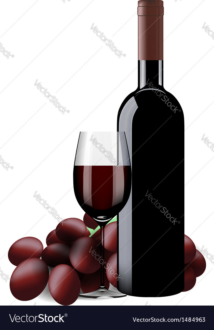 Bottle glass of wine and grapes isolated