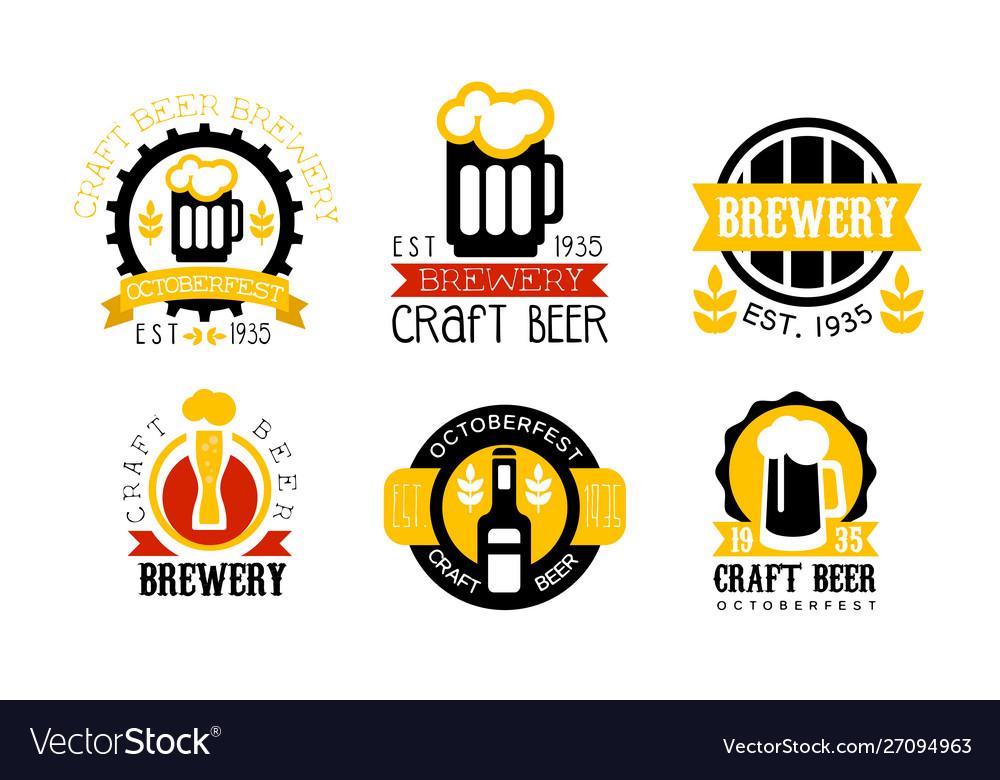 Brewery craft beer retro labels set best recipe