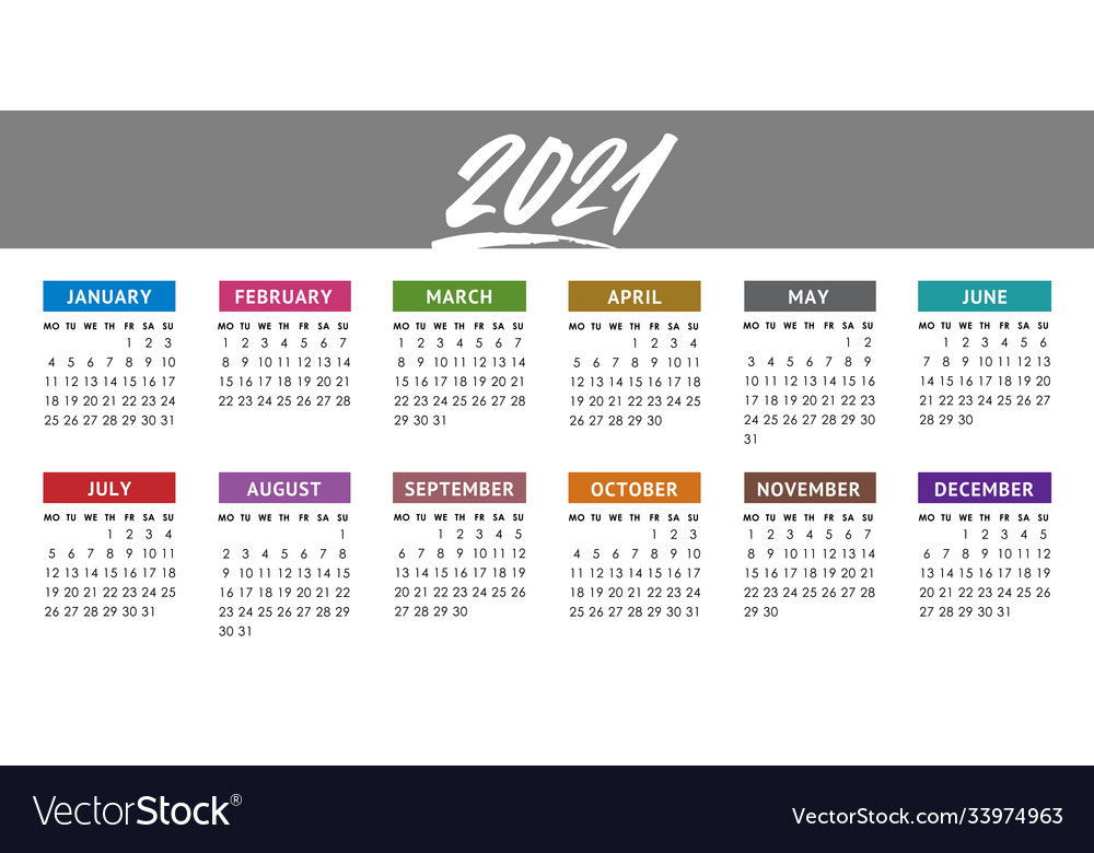 Calendar for 2021 year week starts monday