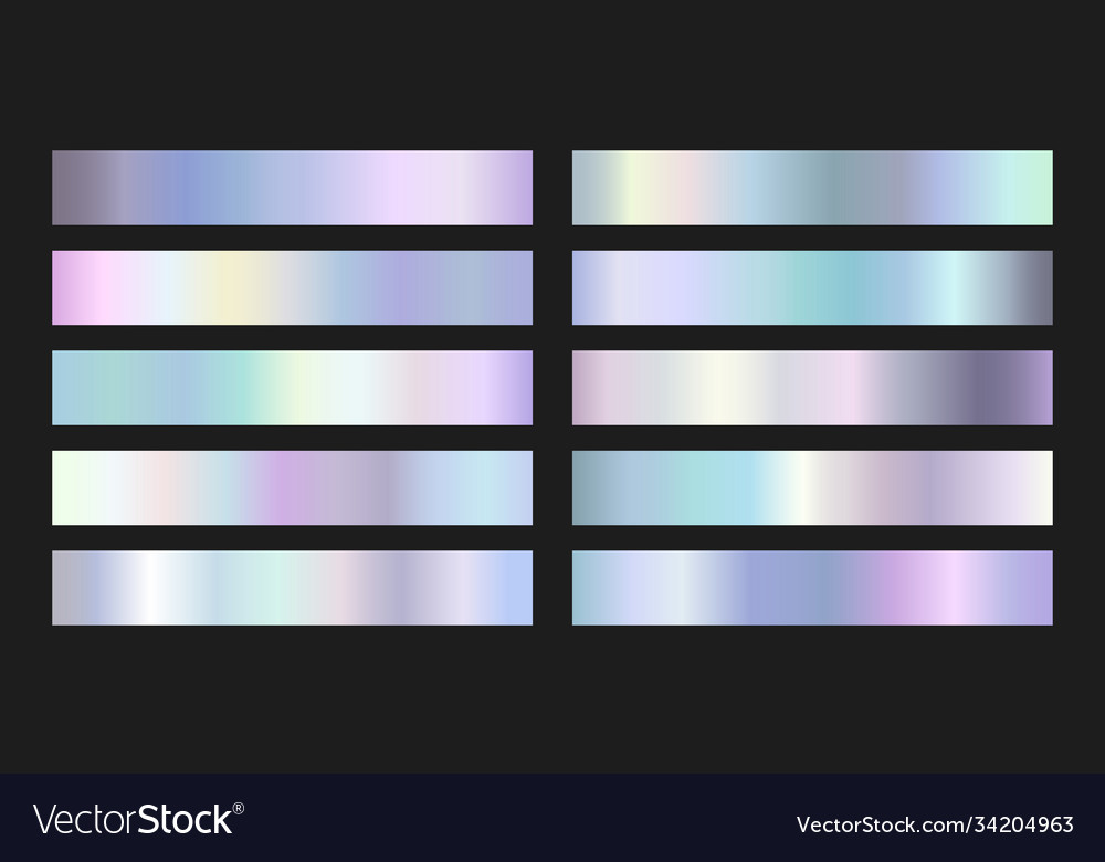 Collection iridescent silver foil gradients