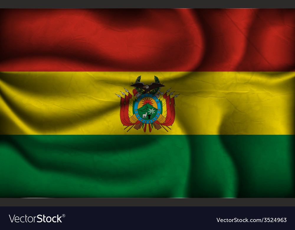 Crumpled flag of Bolivia on a light background