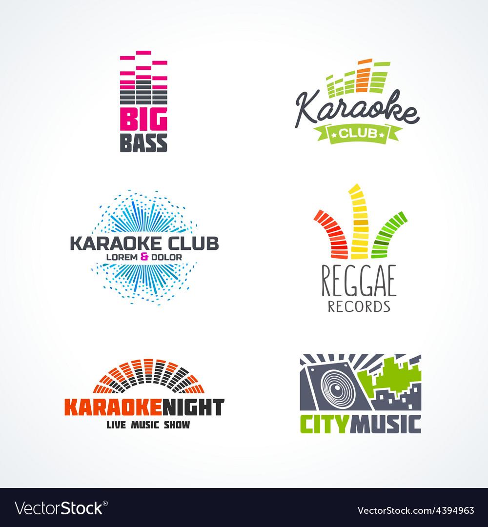 Fifth set of dj music reggae bass karaoke vector image