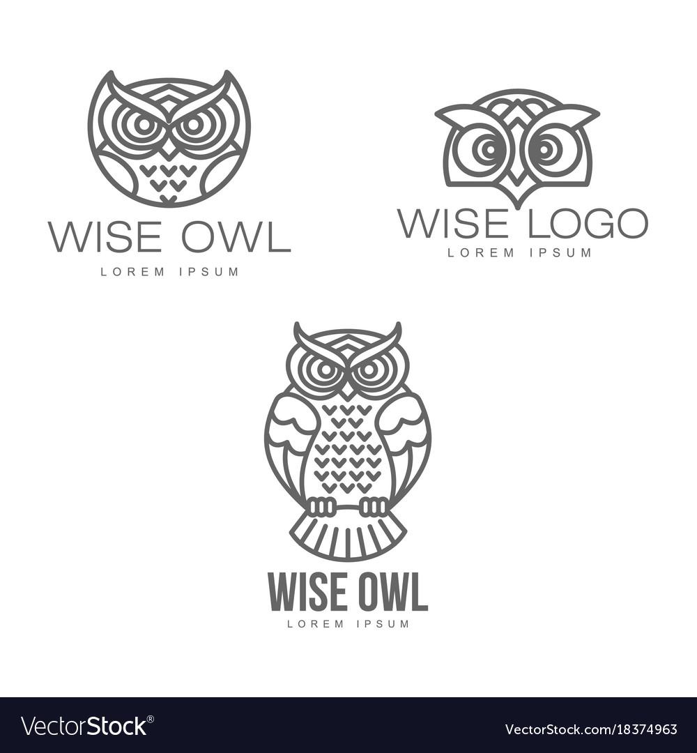 Hand drawn stylized owl bird icon set