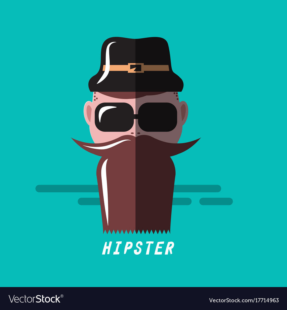 Hipster cartoon flat design retro hipster vector image