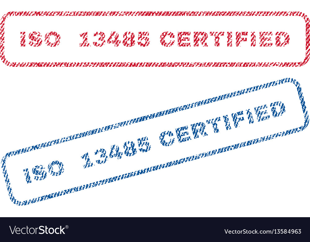 Iso 13485 certified textile stamps Royalty Free Vector Image