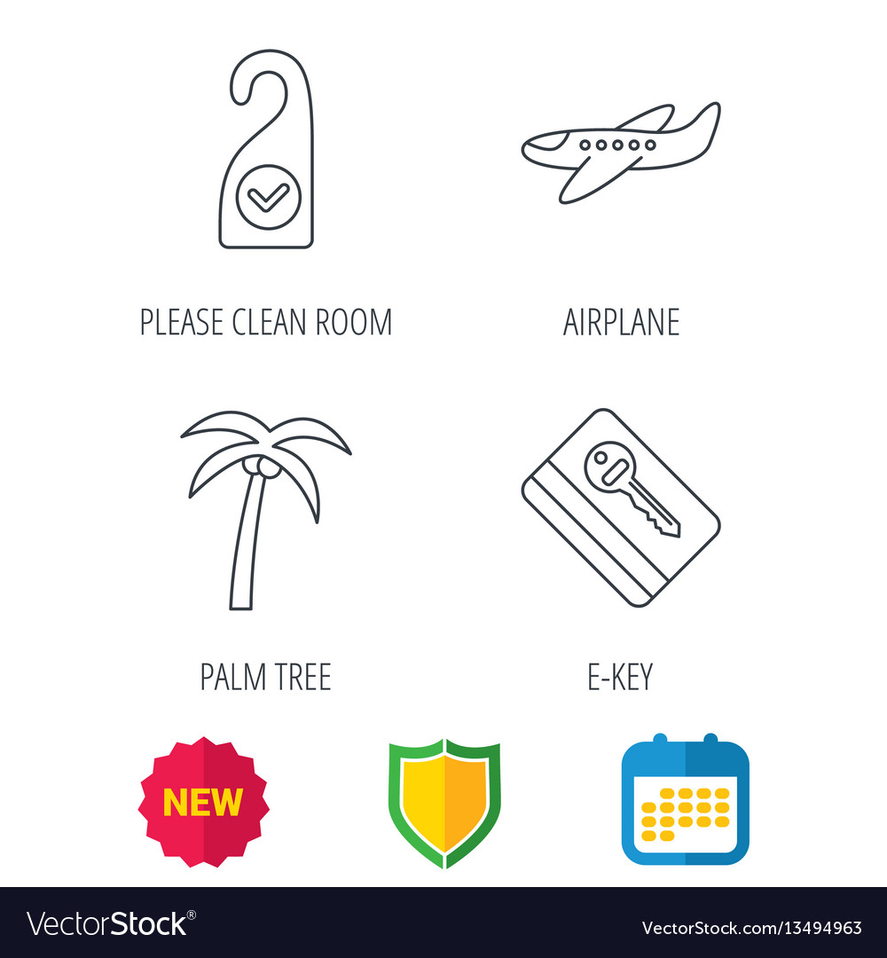 Palm tree air-plane and e-key icons