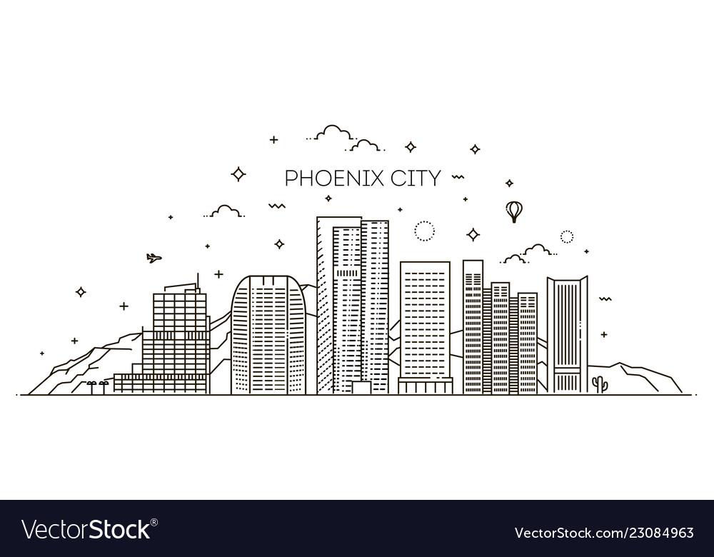 Phoenix skyline detailed silhouette trendy