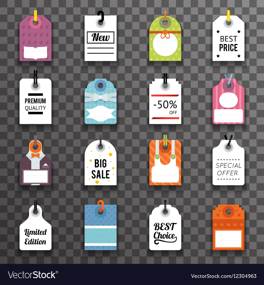 Price Sale Text Tag Symbol Labels Icons Set