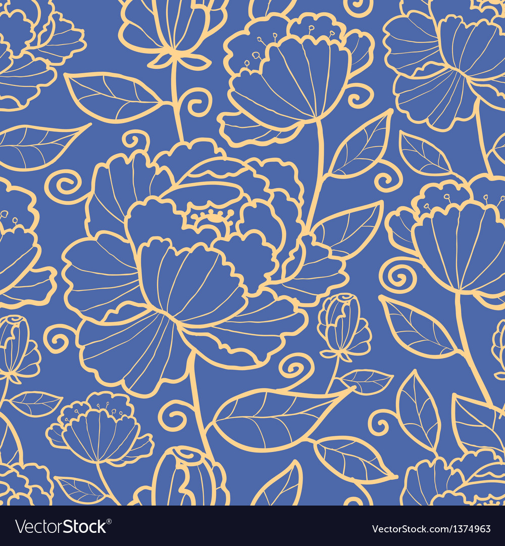 Royal flowers and leaves seamless pattern