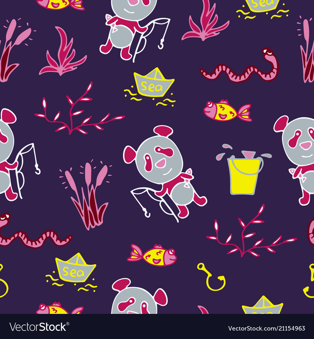 Saturated seamless pattern with the panda fishes