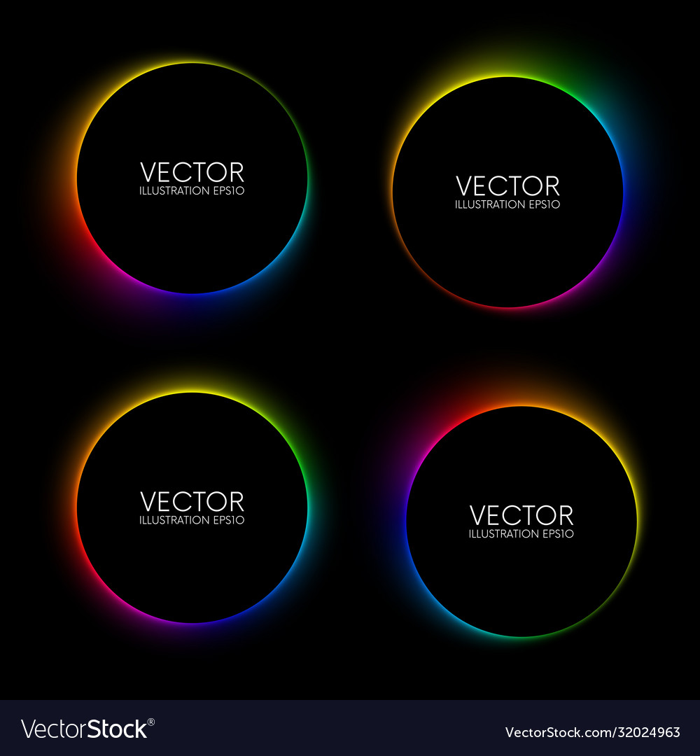 Set colorful glowing blurry circle banners on