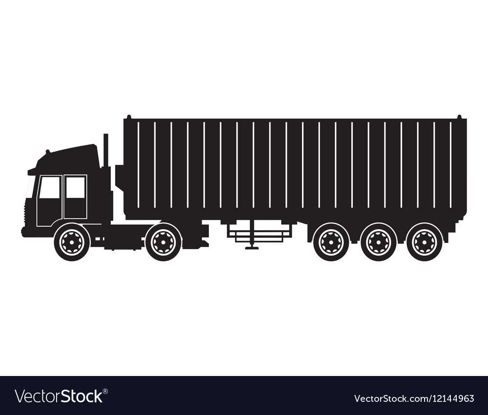 Silhouette truck trailer container delivery cargo