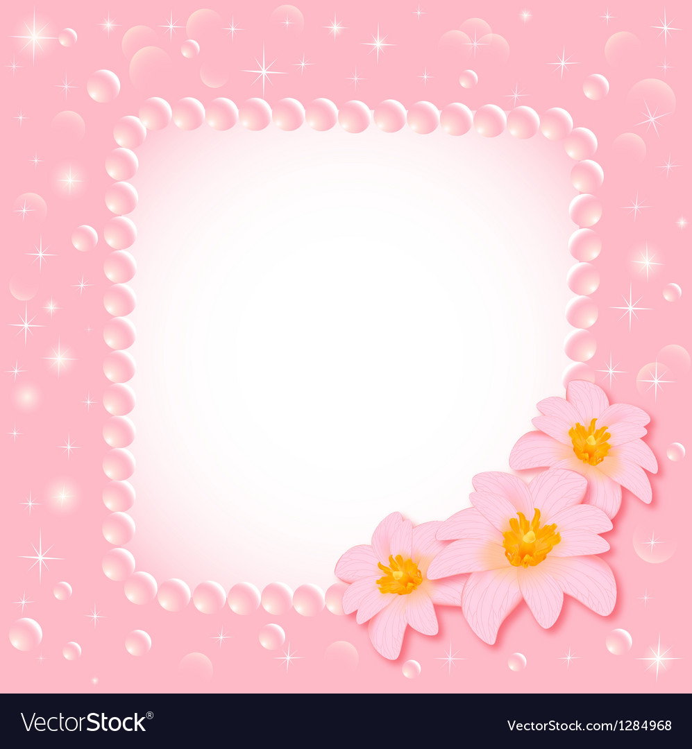 Background with the flower and the pearls