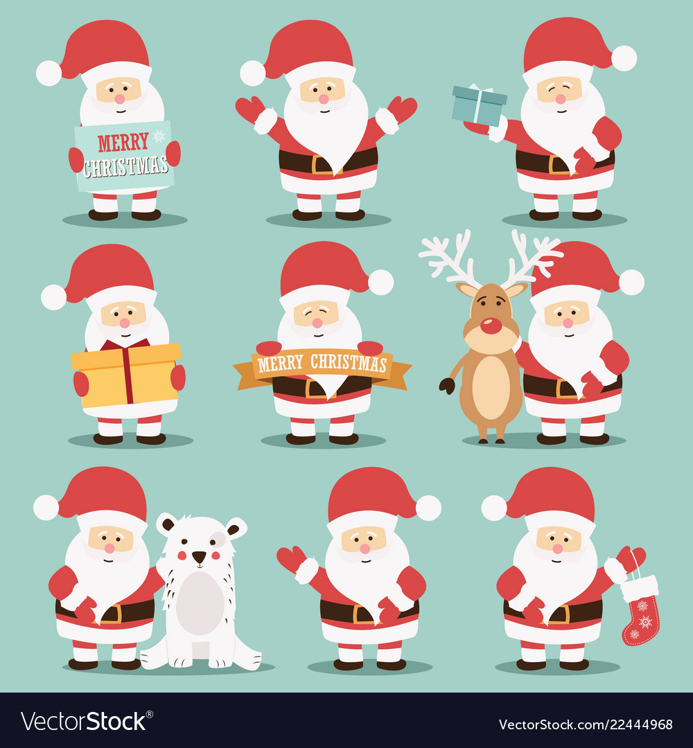 Collection of cute santa claus characters