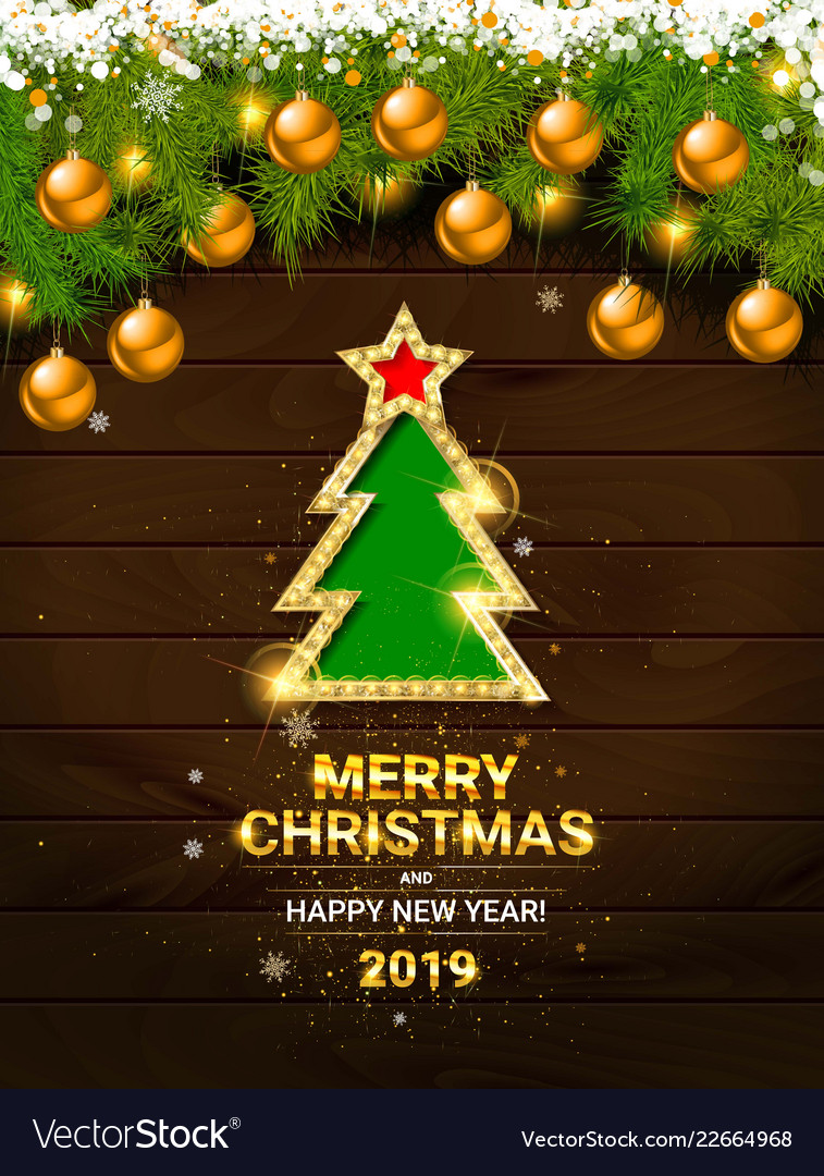 Decorated Christmas Tree In Red And White Colors Vector Image