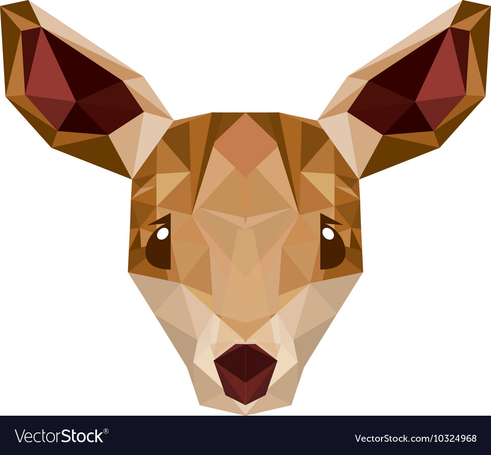 Deer head low poly isolated icon