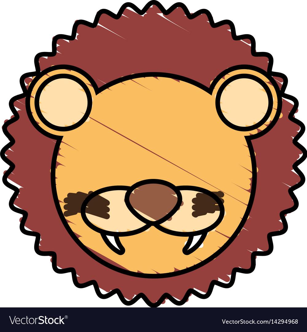 Drawing lion face animal