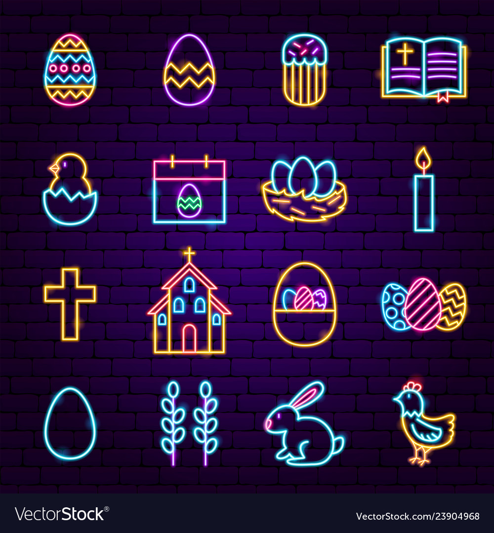 Easter neon icons