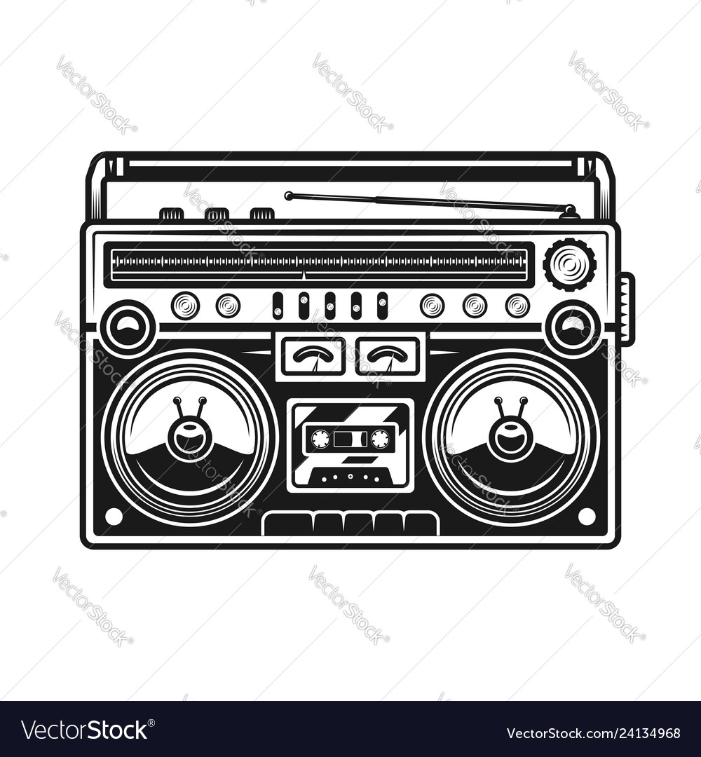 Old style music boombox black