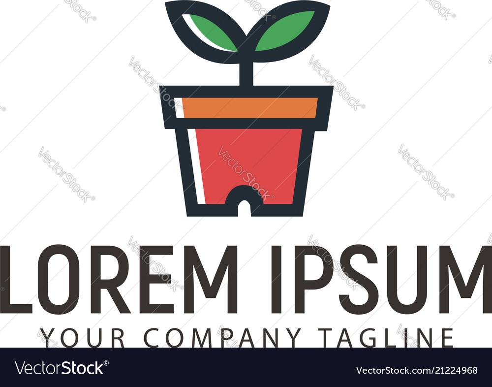 Plant and vase logo design concept template