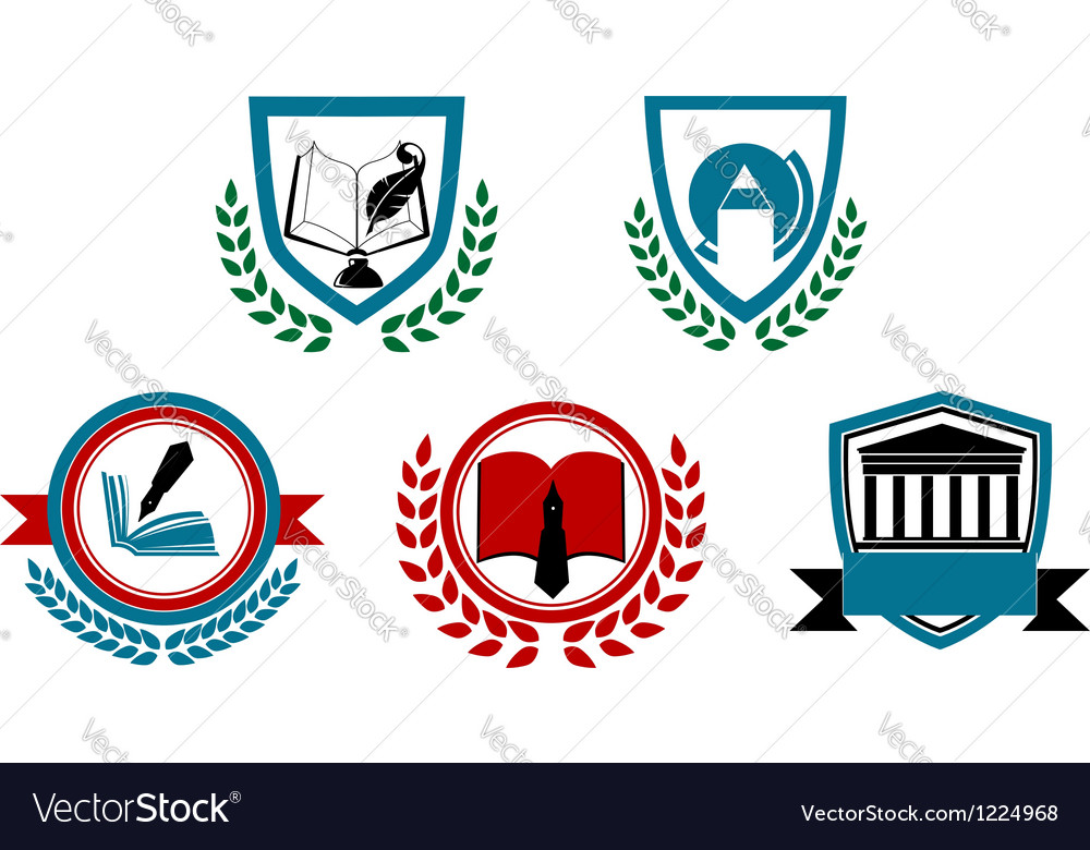 Set of abstract university or college symbols vector image