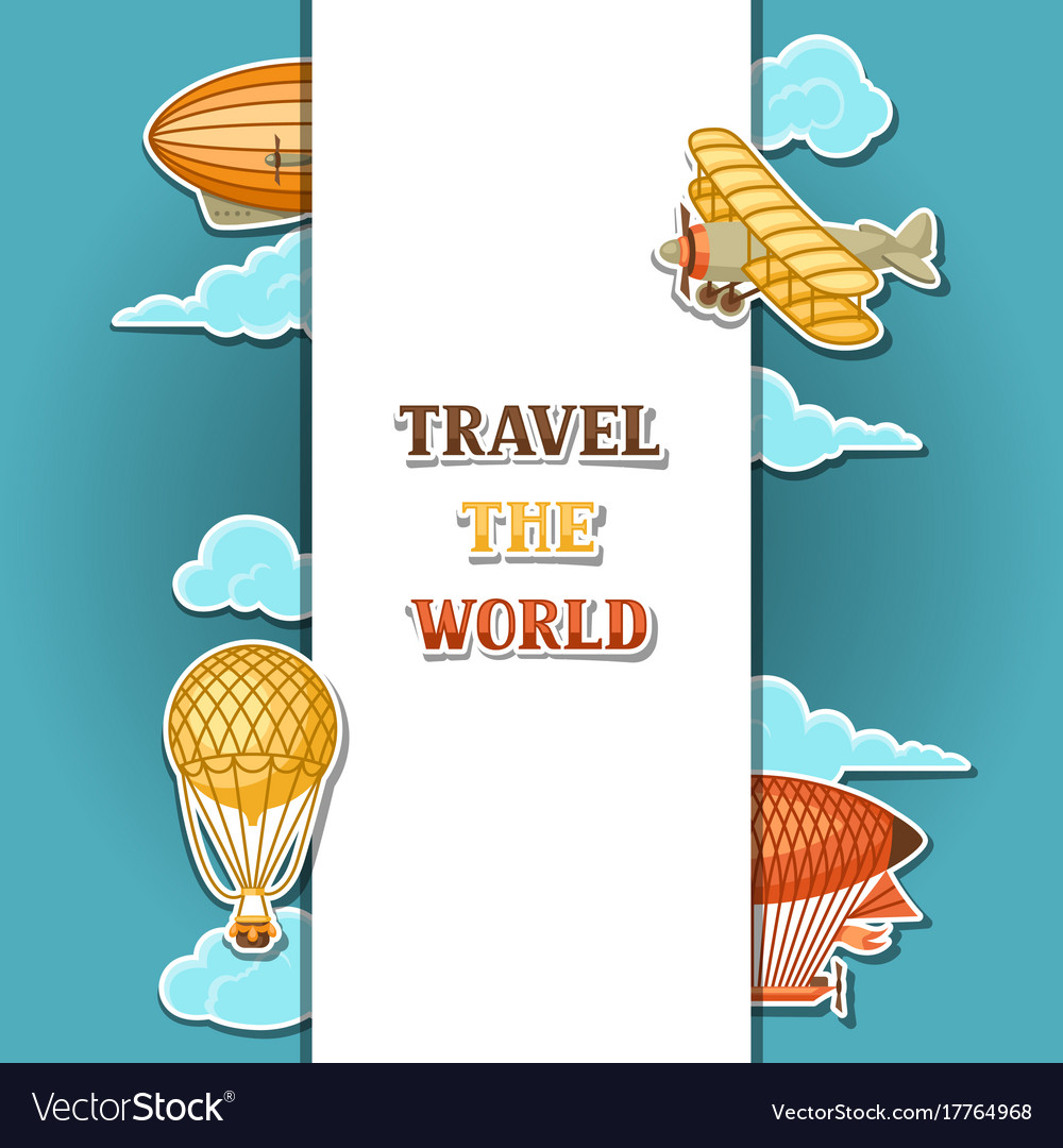 Travel background with retro air transport