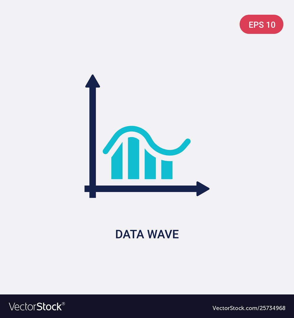 Two color data wave icon from business and