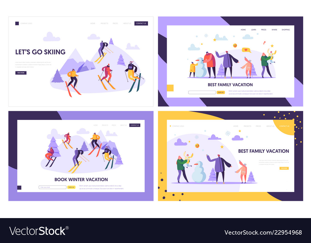 Winter vacation landing page template characters