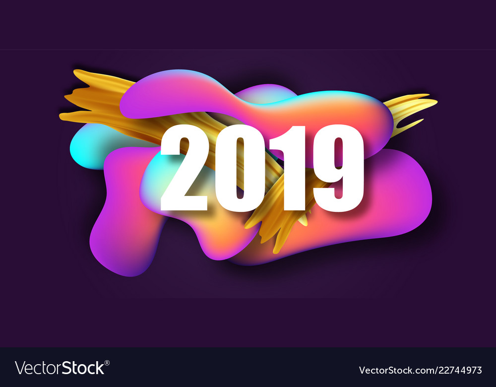 2019 new year on the background of a liquid color vector image - New years colors 2019 ...