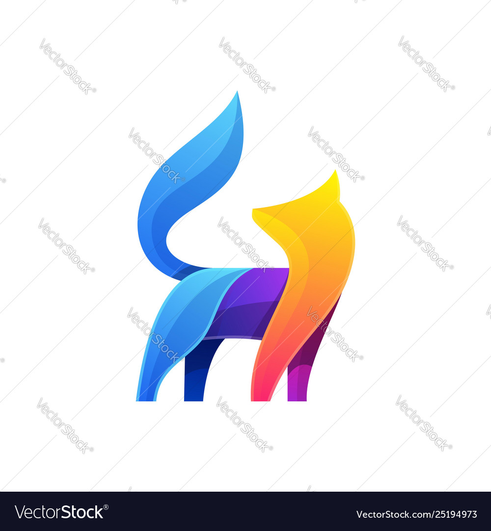 Abstract fox colorful designs template