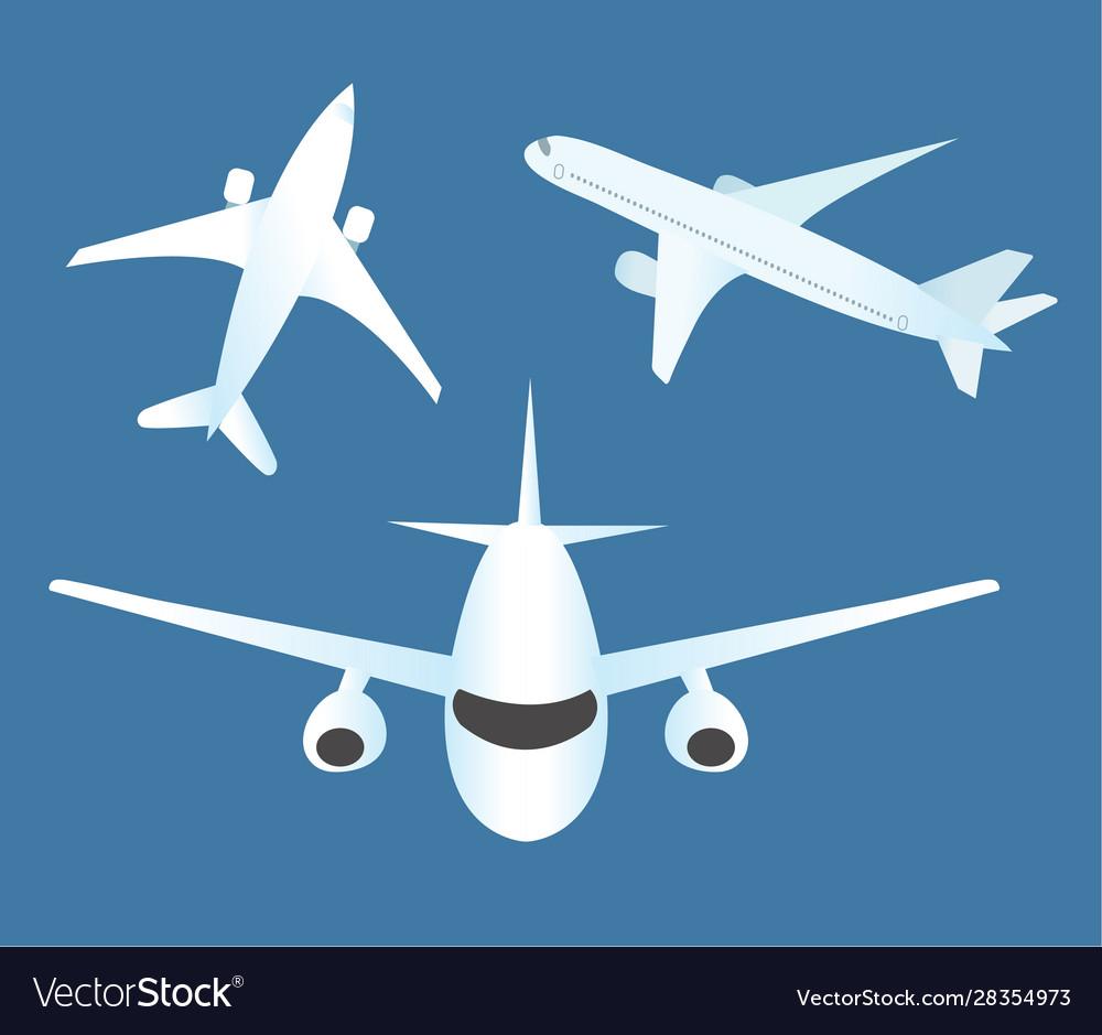 Airplane icon set flat cartoon style planes