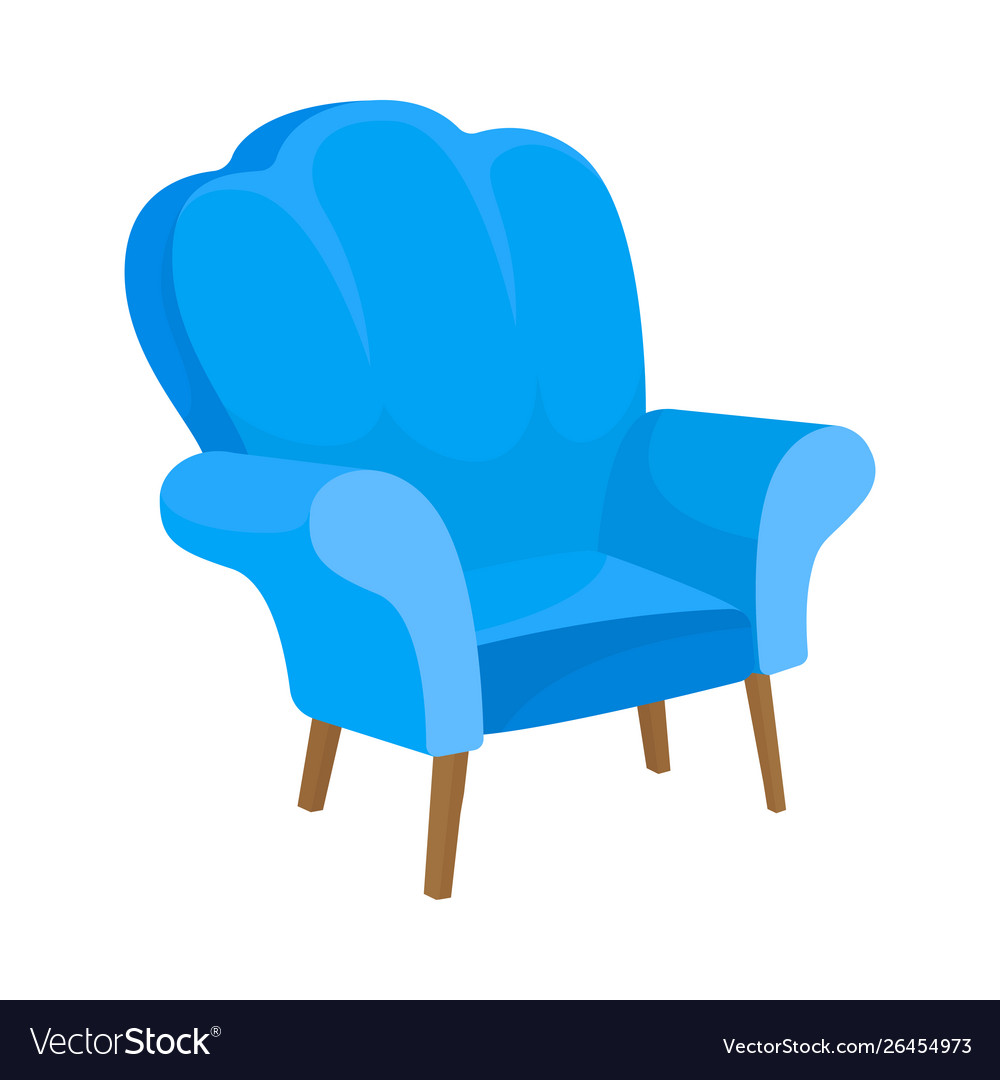 Blue Armchair With High Back And Fabric Railing Vector Image