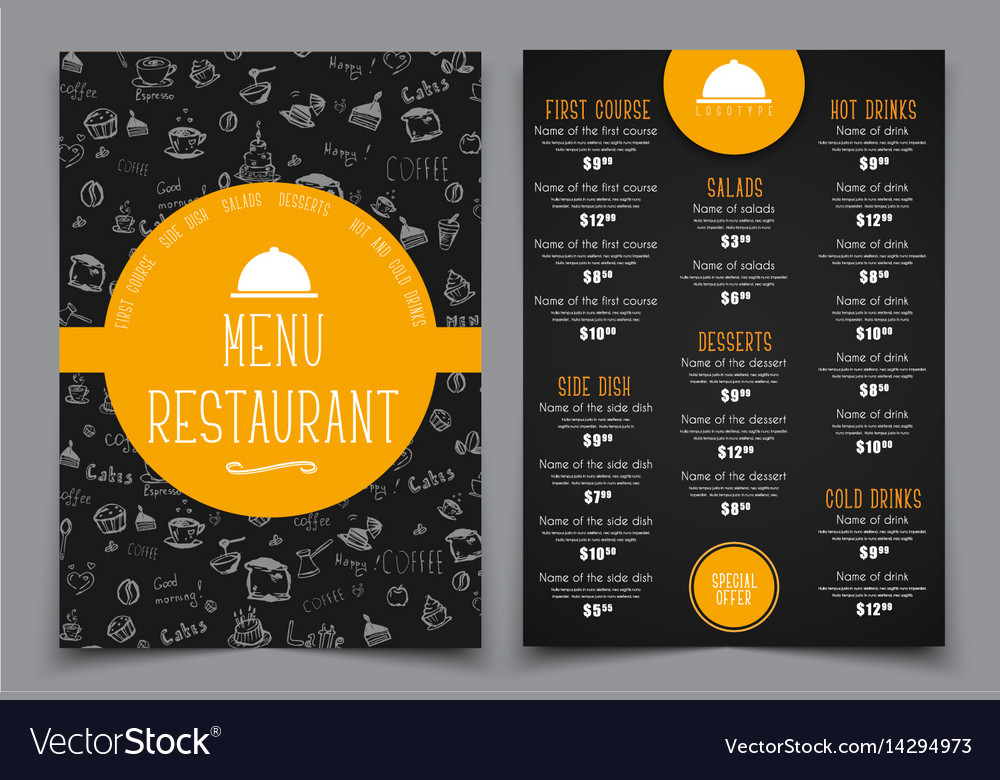 Design a menu for a cafe or restaurant