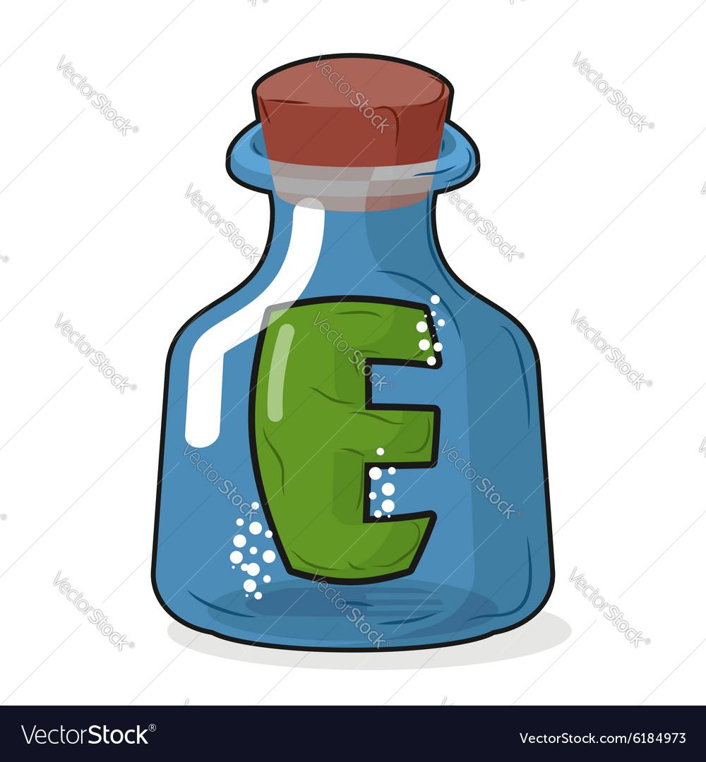 E in magic bottle Letter in a bottle for