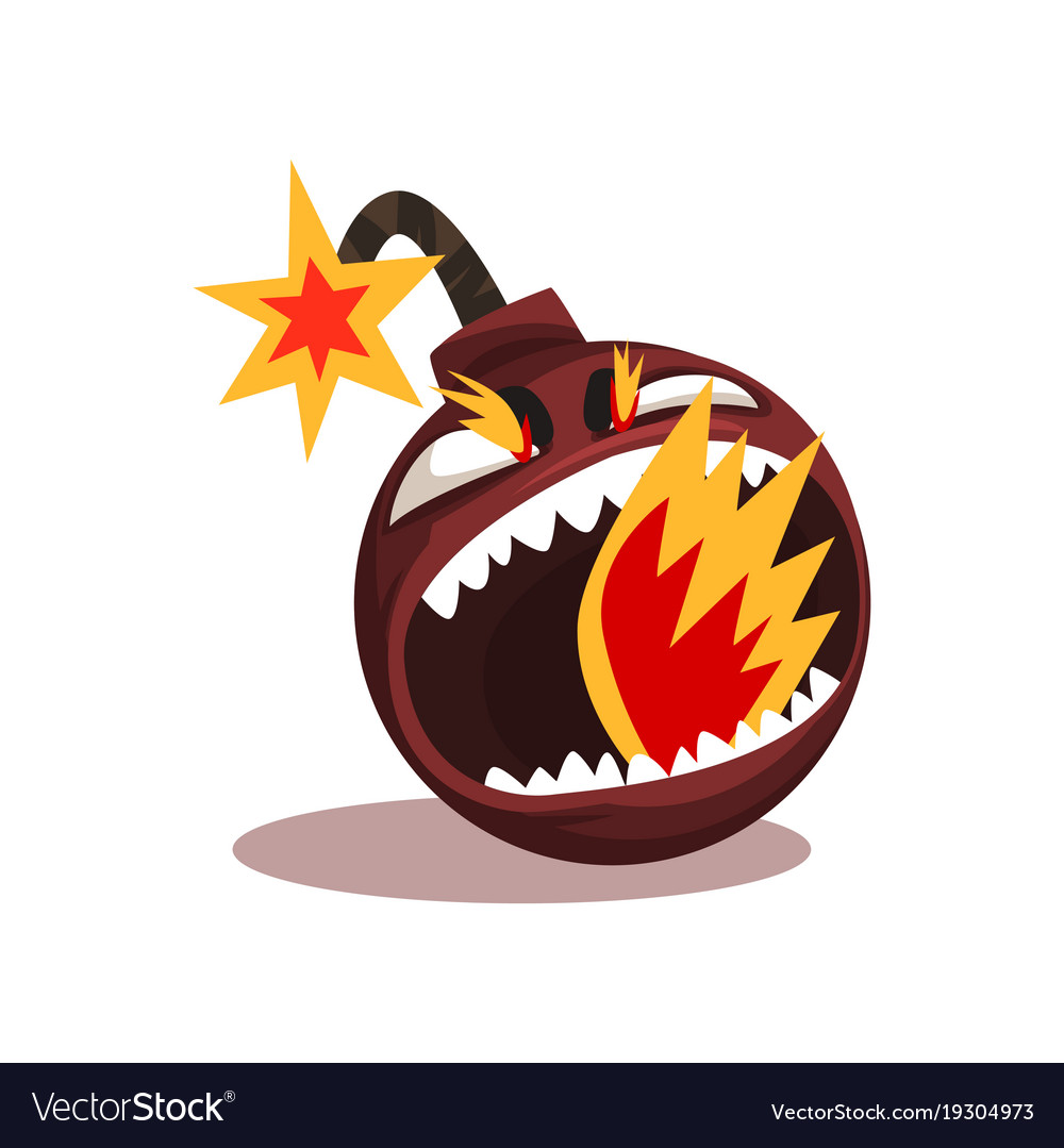 Furious bomb with burning wick funny emoticon in