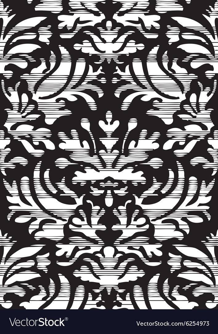 Hand drawn seamless stylized foliage striped