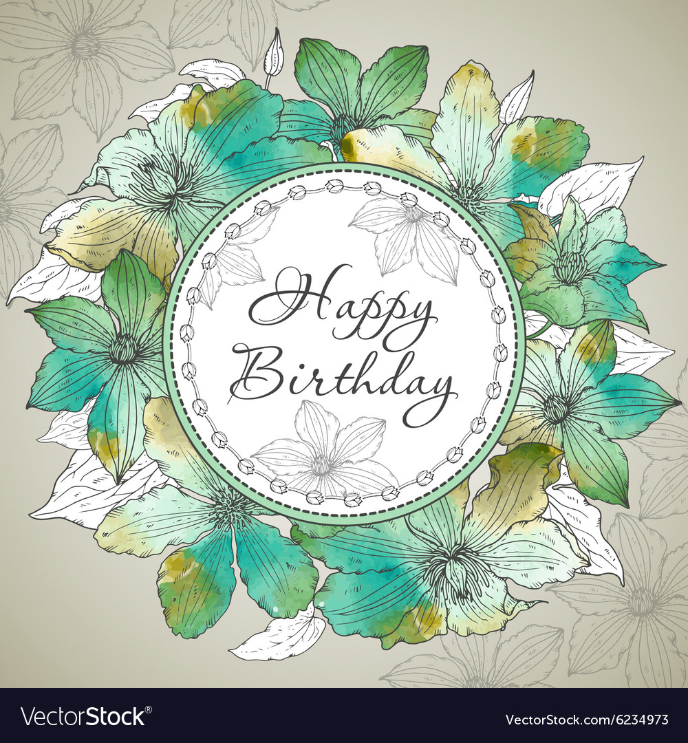 Happy Birthday greeting card with beautiful