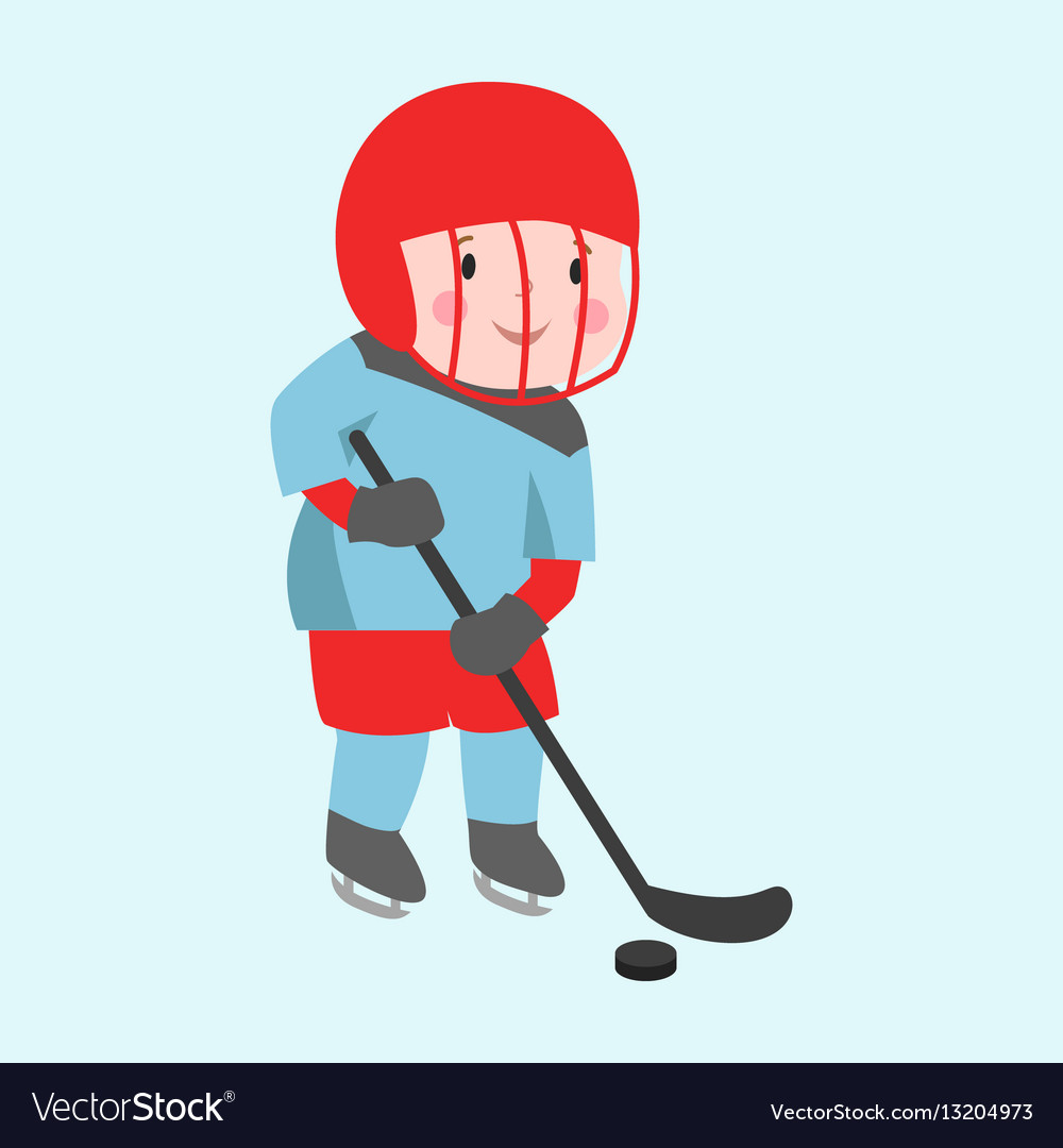 Hockey player boy with stick attitude bandage on
