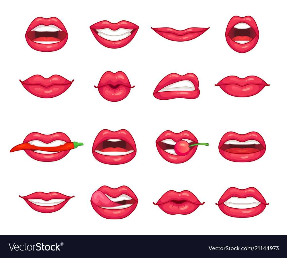 Lips collection beautiful girl smiling kissing