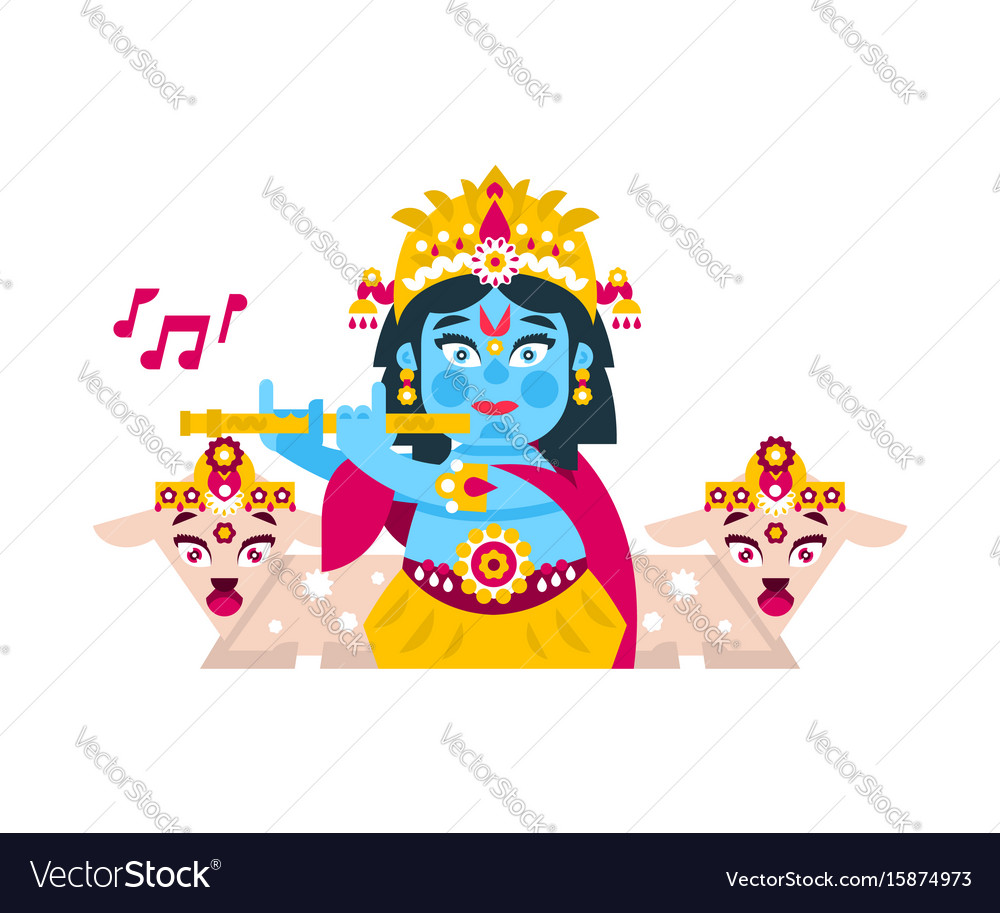 Lord krishna sitting in the lotus position in