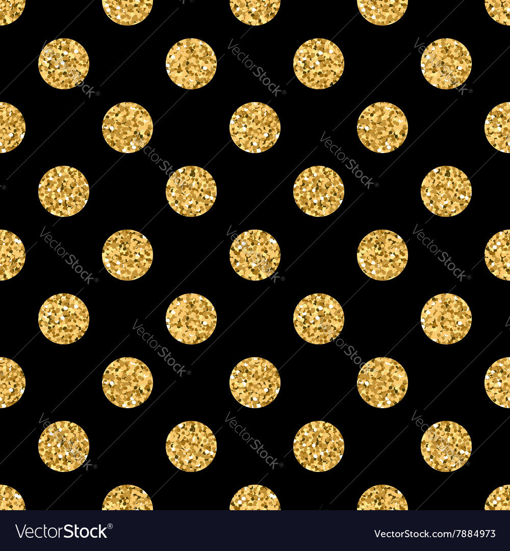 Polka dot BIG gold 1 black vector image