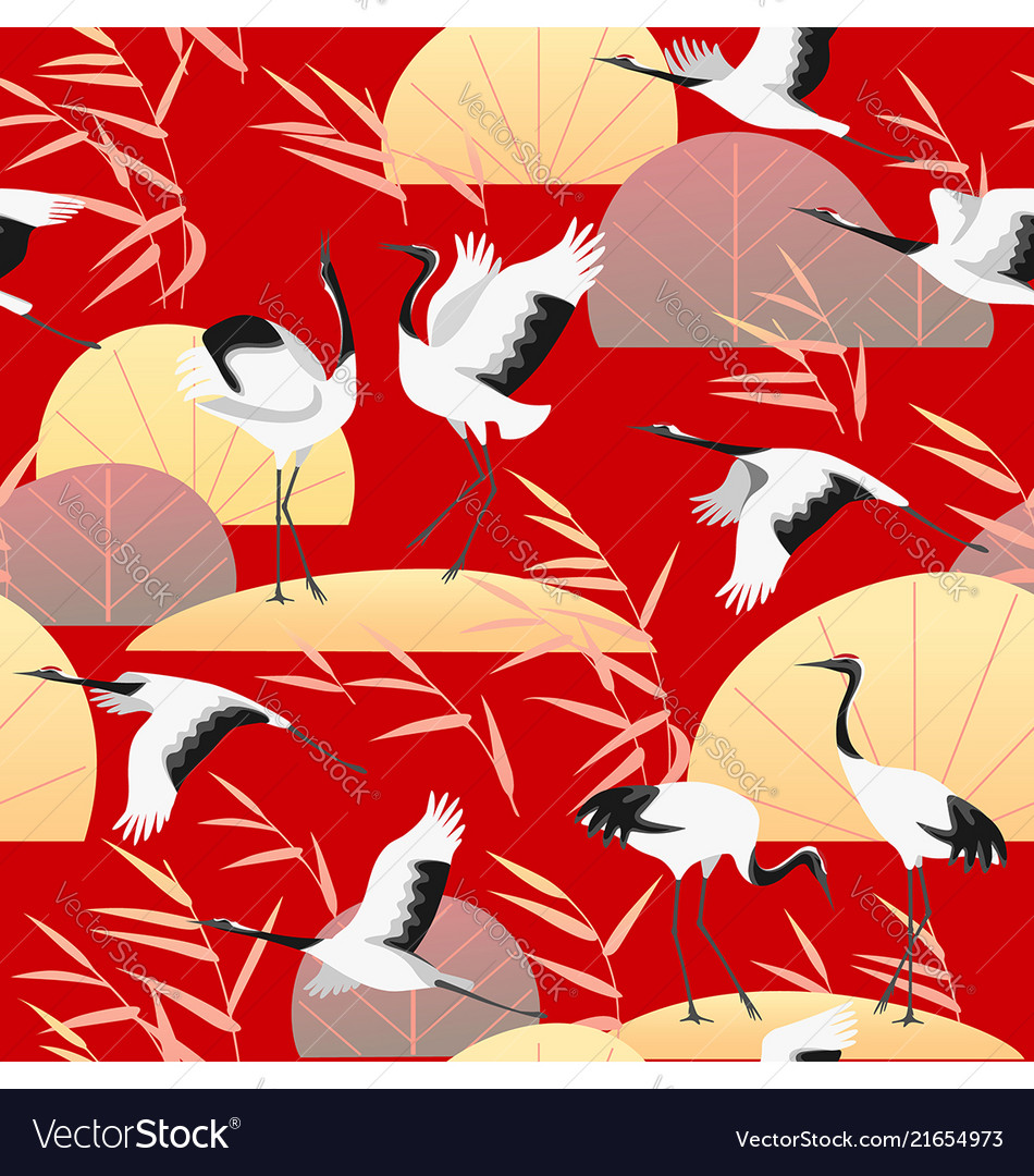 Seamless pattern with japanese cranes and reed